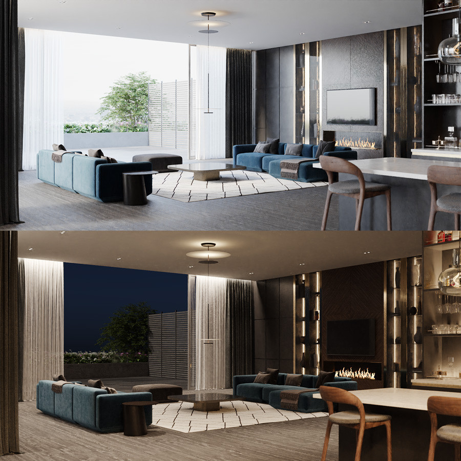 Day and night version of render using LightMix