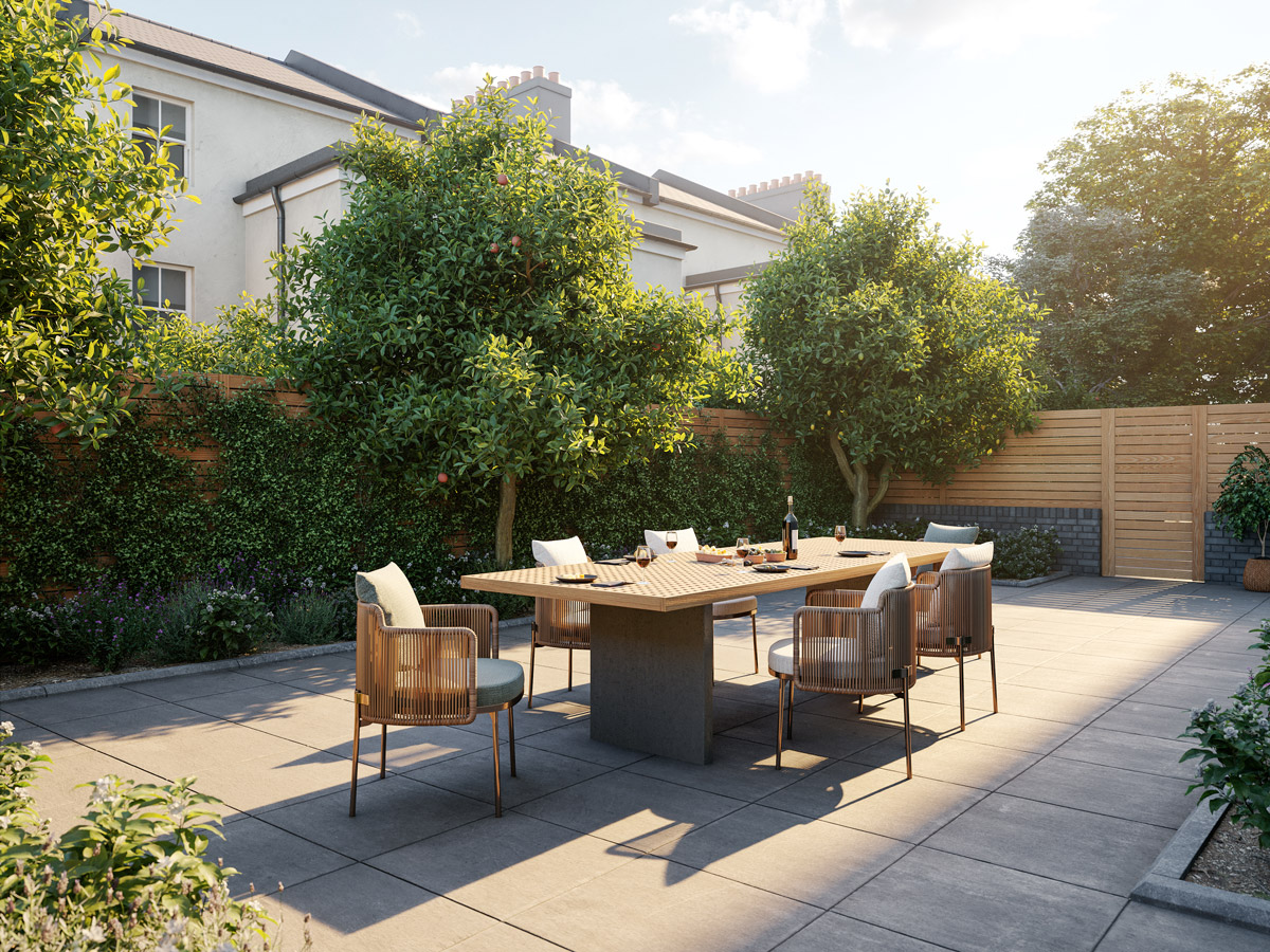 Architectural visualisation of rear garden in Brighton