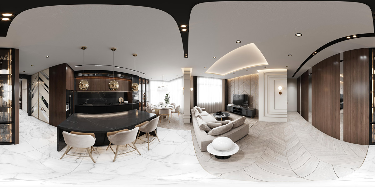 360 panoramic interior render of open plan apartment